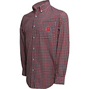 Campus Specialties Men's NC State Wolfpack Red Multi-Checkered Woven Long Sleeve Shirt