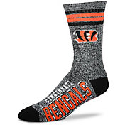For Bare Feet Cincinnati Bengals 4-Stripe Deuce Marbled Crew Socks