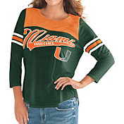 G-III For Her Women's Miami Hurricanes Green Endzone Three-Quarter Sleeve T-Shirt
