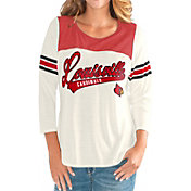 G-III For Her Women's Louisville Cardinals White Endzone Three-Quarter Sleeve T-Shirt