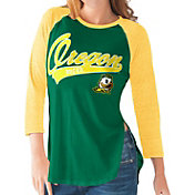 G-III For Her Oregon Ducks Green/Yellow Halftime Three-Quarter Raglan T-Shirt