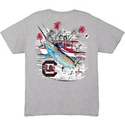 Guy Harvey Men's South Carolina Gamecocks Grey Collegiate Boat T-Shirt