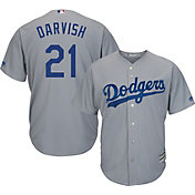 Majestic Men's Replica Los Angeles Dodgers Yu Darvish #21 Cool Base Alternate Road Grey Jersey