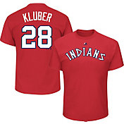 Majestic Men's Cleveland Indians Corey Kluber #28 Cooperstown Red T-Shirt
