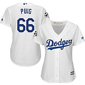 Majestic Women's 2017 World Series Replica Los Angeles Dodgers Yasiel Puig Cool Base Home White Jersey