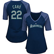 Majestic Women's Seattle Mariners Robinson Cano #22 Navy Raglan V-Neck Half-Length Sleeve Shirt