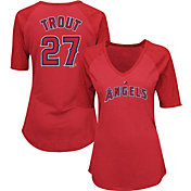 Majestic Women's Los Angeles Angels Mike Trout #27 Red Raglan V-Neck Half-Length Sleeve Shirt
