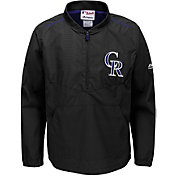 Majestic Youth Colorado Rockies Cool Base Black On-Field Half-Zip Jacket