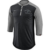 Nike Men's Baltimore Orioles Dri-FIT Three-Quarter Sleeve Henley Shirt
