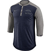 Nike Men's Boston Red Sox Dri-FIT Three-Quarter Sleeve Henley Shirt