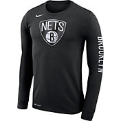 Nike Men's Brooklyn Nets Dri-FIT Black Logo Long Sleeve Shirt