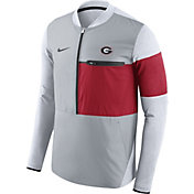 Nike Men's Georgia Bulldogs Grey/Red Shield Hybrid Football Sideline Jacket