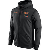 Nike Men's Oklahoma State Cowboys Black Therma-FIT Full-Zip Football Hoodie