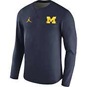 Nike Men's Michigan Wolverines Blue Modern Football Sideline Crew Long Sleeve Shirt