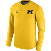 Jordan Men's Michigan Wolverines Maize Modern Football Sideline Crew Long Sleeve Shirt
