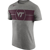 Nike Men's Virginia Tech Hokies Grey Logo Basketball T-Shirt