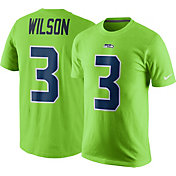 Nike Men's Seattle Seahawks Russell Wilson #3 Color Rush 2017 Pride Green T-Shirt
