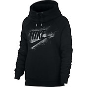 Nike Women's Sportswear Rally Metallic Funnel Neck Graphic Hoodie