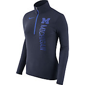 Nike Women's Michigan Wolverines Heathered Blue Element Half-Zip Shirt