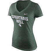 Nike Women's Michigan State Spartans Green 'Spartans Will' Phrase V-Neck T-Shirt