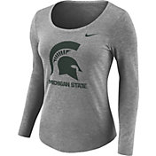 Nike Women's Michigan State Spartans Grey Logo Tri-Blend Long Sleeve Shirt