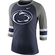 Nike Women's Penn State Nittany Lions Blue/Grey Stripe Sleeve Three-Quarter Raglan Shirt
