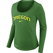 Nike Women's Oregon Ducks Heathered Apple Green Slub Dri-FIT Long Sleeve Shirt