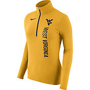Nike Women's West Virginia Mountaineers Heathered Gold Element Half-Zip Shirt