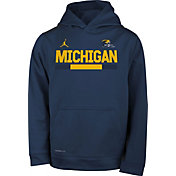 Jordan Youth Michigan Wolverines Blue Football Sideline Pullover Therma-FIT Hoodie