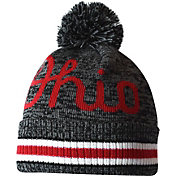 OSU Men's Ohio State Buckeyes Heathered Black Plate Breaker Cuffed Knit Beanie