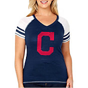 Soft As A Grape Women's Cleveland Indians Tri-Blend V-Neck T-Shirt