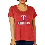 Soft As A Grape Women's Texas Rangers Tri-Blend Crew T-Shirt