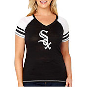 Soft As A Grape Women's Chicago White Sox Tri-Blend V-Neck T-Shirt - Plus Size
