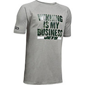 Under Armour NFL Combine Authentic Youth New York Jets Winning Business Grey T-Shirt