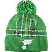 adidas Men's 2018 St. Patrick's Day St. Louis Blues Green Pom Knit Beanie