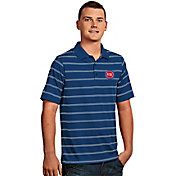 Antigua Men's Detroit Pistons Deluxe Royal Striped Performance Polo