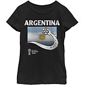 Fifth Sun Youth Girls' 2018 FIFA World Cup Argentina Flag Ball Black T-Shirt