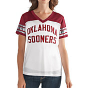 G-III For Her Women's Oklahoma Sooners Fan Club White/Crimson Mesh V-Neck Top