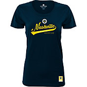 Levelwear Women's Nashville SC Script Navy Heathered T-Shirt