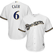 Majestic Men's Replica Milwaukee Brewers Lorenzo Cain #6 Cool Base Home White Jersey