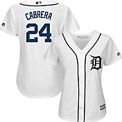 Majestic Women's Replica Detroit Tigers Miguel Cabrera #24 Cool Base Home White Jersey