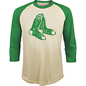 Majestic Threads Men's Boston Red Sox St. Patrick's Day Raglan Three-Quarter Shirt