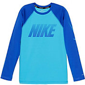 Nike Boys' Solid Long Sleeve Hydro Rash Guard