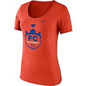 Nike Women's FC Cincinnati Crest Orange Scoop Neck T-Shirt